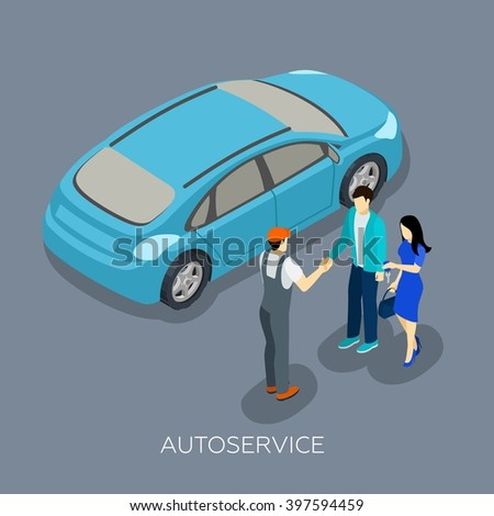 Auto repair service mechanic with customers and fixed car isometric figures composition design abstract vector illustration - stock vector