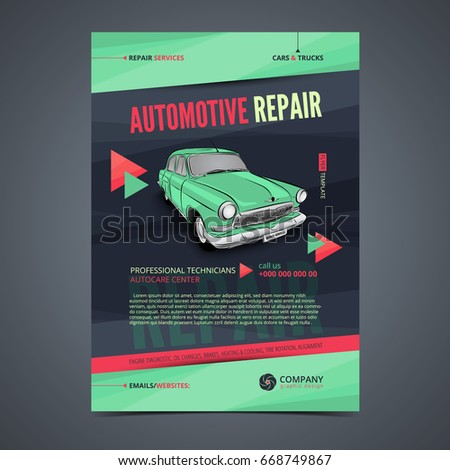 Auto Repair Services Layout Templates Automobile Stock Vector ...