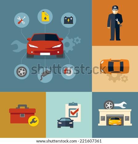 Auto repair shop - stock vector