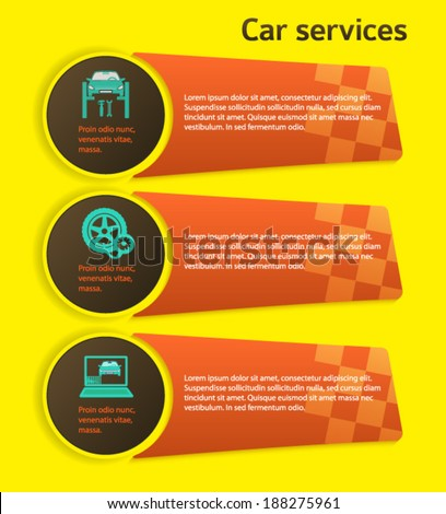Auto service and car repair background with icons design elements on yellow background. Modern business presentation template for advertising vehicle repair newsletter. Vector illustration eps 10 - stock vector