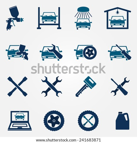 Auto service and repair flat icon set - vector car fix and car paint logo symbols - stock vector