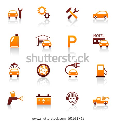Auto service and repair vector icon set. Car fix and automotive symbols - stock vector