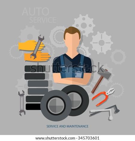 Auto service auto repair auto mechanic tire service - stock vector