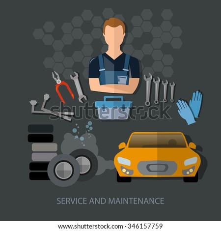 Auto service auto repair auto mechanic tire service car diagnostics vector - stock vector