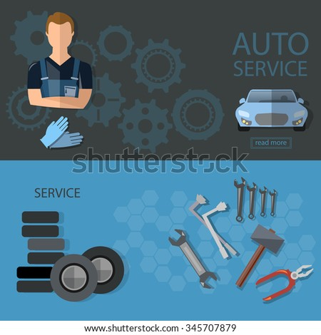 Auto service auto repair tire service oil change auto mechanic banners - stock vector