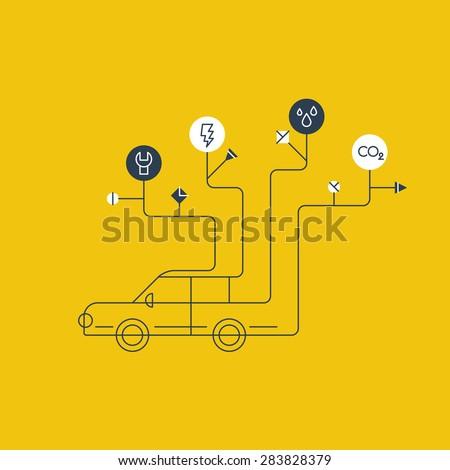 Auto service. Car maintenance. Failure diagnosis. - stock vector