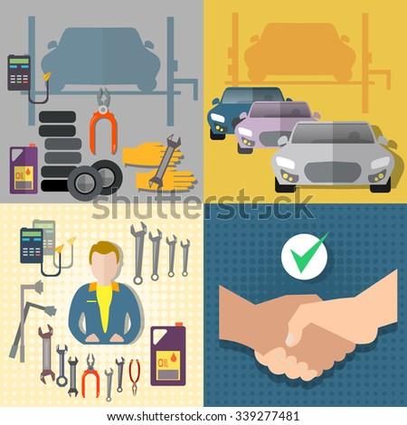 Auto service car service diagnostics auto mechanic set - stock vector
