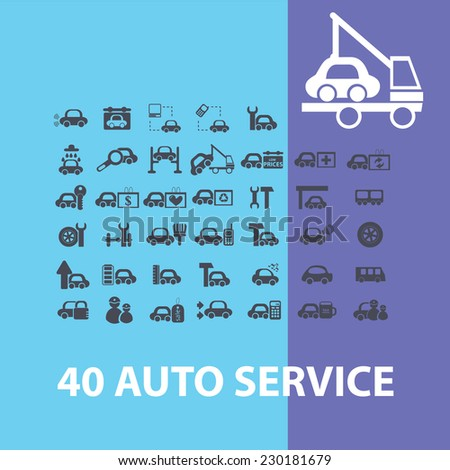auto service, car station icons, signs, objects set, vector - stock vector