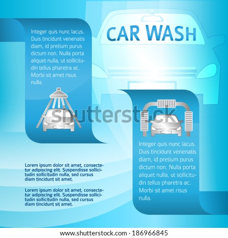 Auto service & car wash background with icons design elements. Modern business presentation template for car-wash flyer.  - stock vector