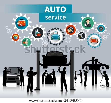 Auto service concept background with spare parts and maintenance symbols flat shadow vector illustration  - stock vector