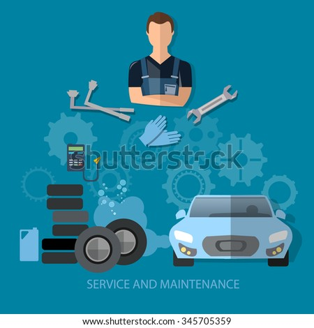 Auto service concept car repair service professional auto mechanic with wrench - stock vector