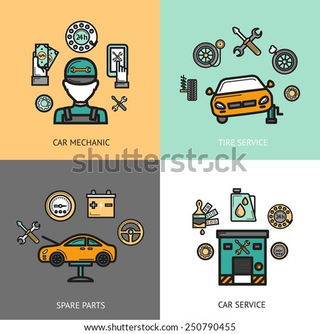 Auto service design concept set with car mechanic tire service spare parts flat icons isolated vector illustration - stock vector