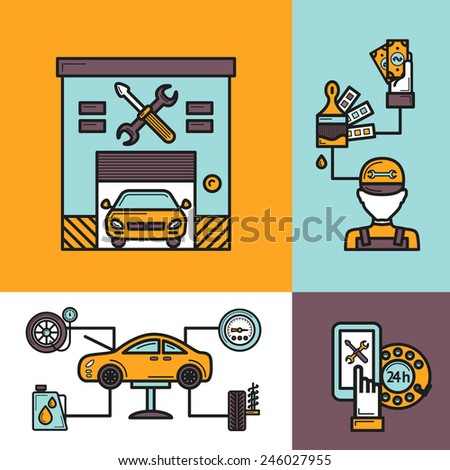Auto service design concept set with tire engine repair work icons isolated vector illustration - stock vector