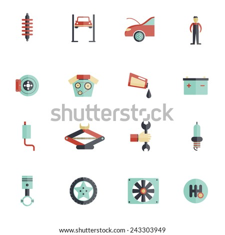 Auto service flat icon set with mechanic tools automobile maintenance symbols isolated vector illustration - stock vector
