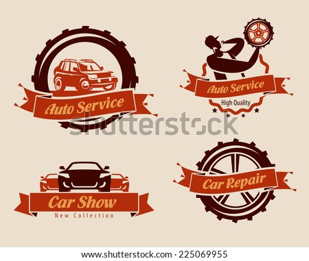 Auto service icons. Vector format - stock vector
