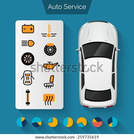 Auto service infographics set with auto car repair and diagnostics symbols and charts vector illustration - stock vector