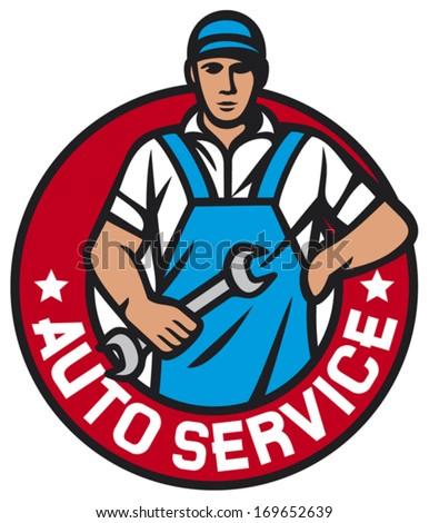 auto service label (car service symbol, auto mechanics - professional worker, car mechanic worker, auto mechanics)  - stock vector