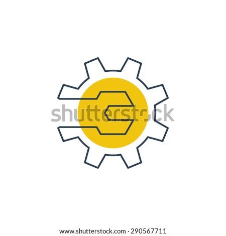 Auto service logo. Mechanic work, technology, engineering, industrial sign. - stock vector