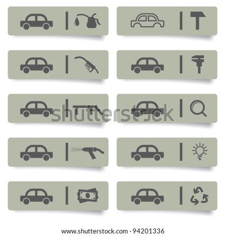auto service stickers and icons set for web design and high quality print - stock vector