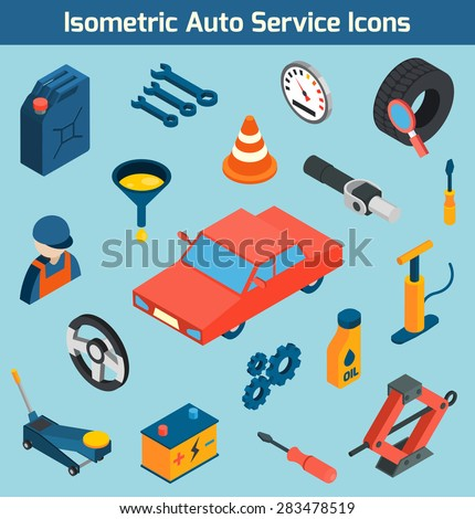 Auto service tools consumables and spare parts isometric icons set isolated vector illustration - stock vector