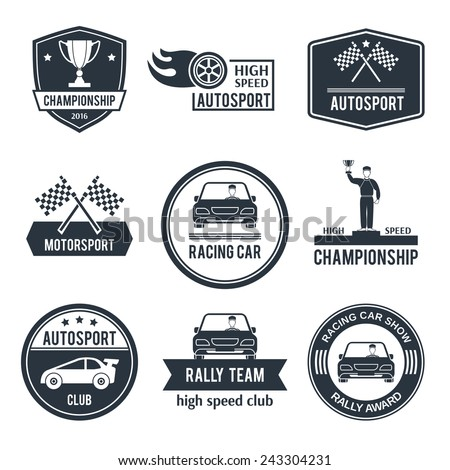 Auto sport black label set with championship motorsport racing car emblems isolated vector illustration - stock vector