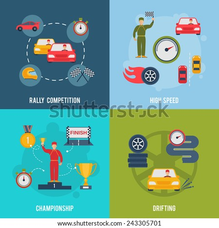 Auto sport flat icons set with rally competition high speed championship drifting isolated vector illustration - stock vector