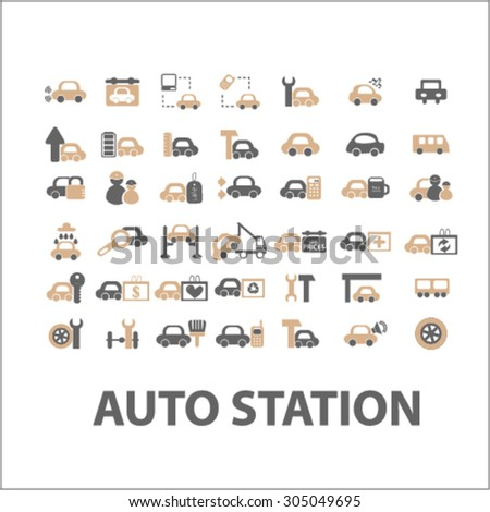 auto station, car services flat icons, signs, illustration concept, vector - stock vector