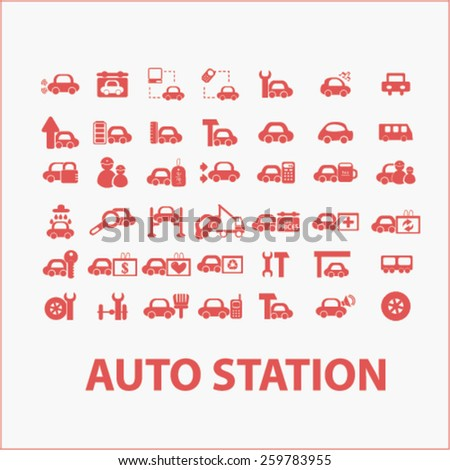 auto station services, cars icons, signs, illustrations concept design set, vector - stock vector