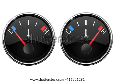 Auto temperature gauge. Hot and Cold indication. Vector illustration isolated on white background