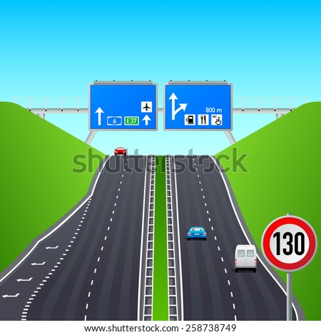 Autobahn road, signs, cars and constructions - stock vector