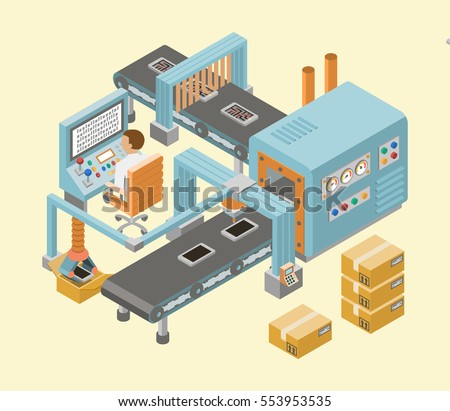 Automated factory assembly line with robotic arm and conveyor belt controlled manufacturing process isometric poster vector illustration