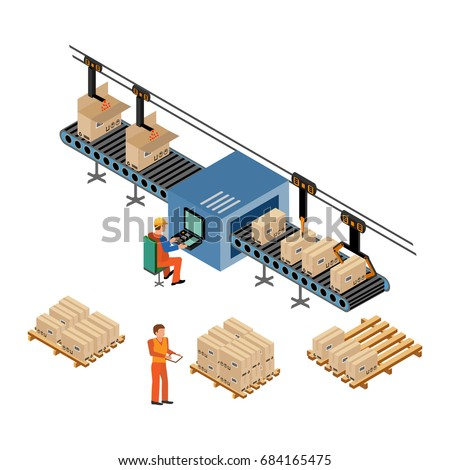 Automated Factory Assembly Line Robotic Arm Stock Vector ...