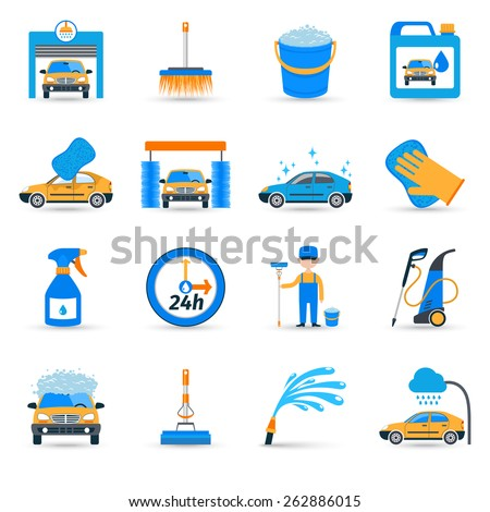 Automatic carwash facilities innovative self service foaming brush unit equipment flat icons set abstract vector isolated illustration - stock vector