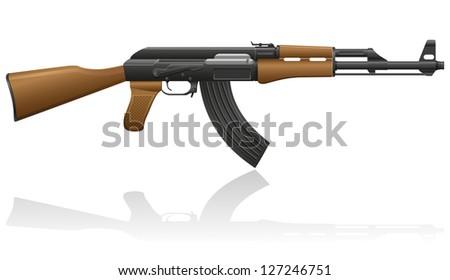 automatic machine AK-47 Kalashnikov vector illustration isolated on white background - stock vector
