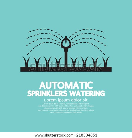 Automatic Sprinklers Watering Vector Illustration - stock vector