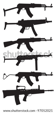 Automatic weapons - stock vector