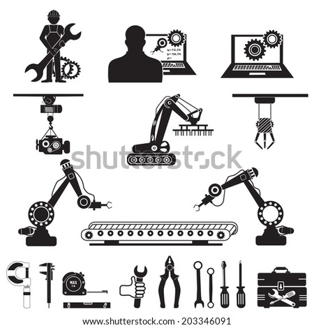Automation in production line and industrial engineering management icons set.