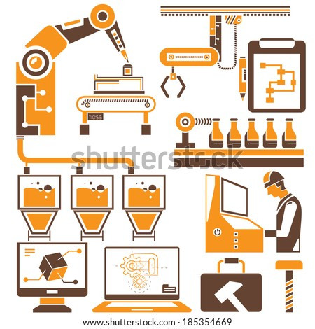 automation in production line and industrial engineering management icons set, brown and orange theme - stock vector