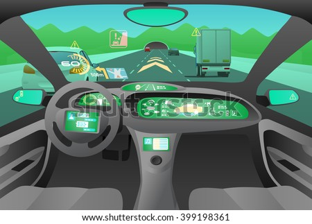 Automobile cockpit, various information monitors and head up displays. Landscape as seen from the car. autonomous car, driverless car, vector illustration - stock vector