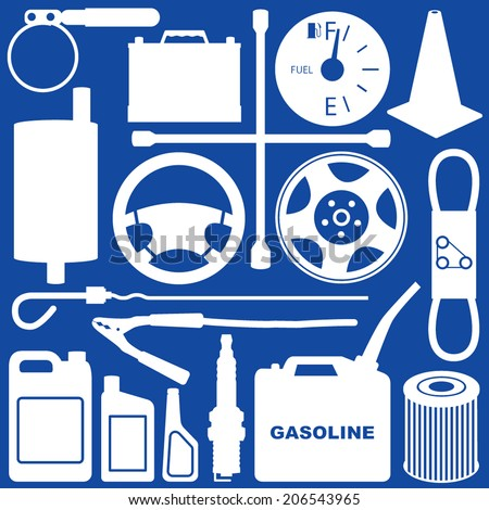 Automobile Repair & Maintenance Objects - stock vector