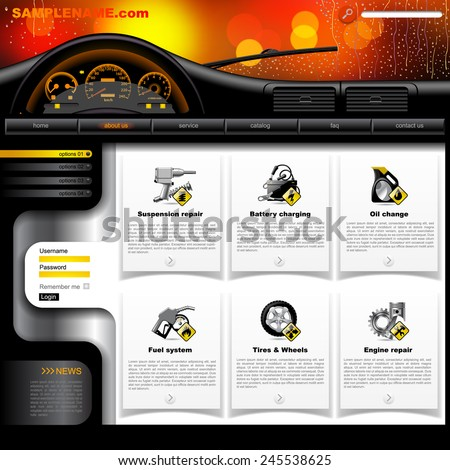 Automobile Service Website design template with dashboard, windshield in rain and service and repair related icons. Vector illustration - stock vector