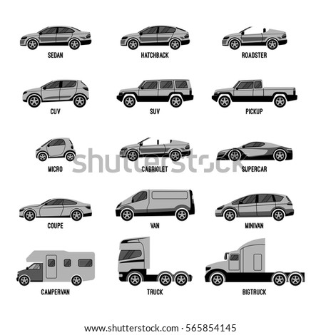 automobile set isolated on white machines models of different sizes or capabilities typical configurations