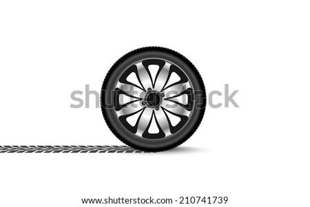automobile wheel leaving a trace - stock vector