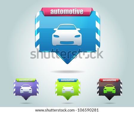 Automotive Icon Button Vector Design Multicolored