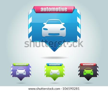 Automotive Icon Button Vector Design Multicolored - stock vector