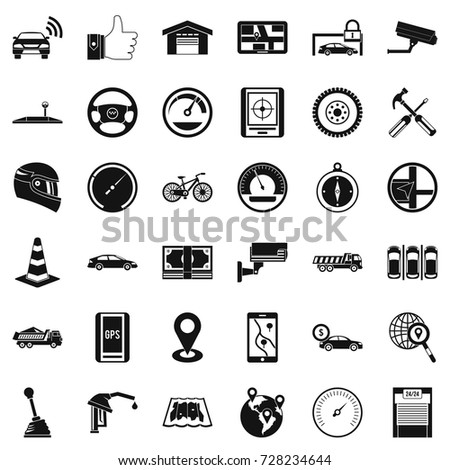 automotive icons set simple style 36 stock vector royalty free