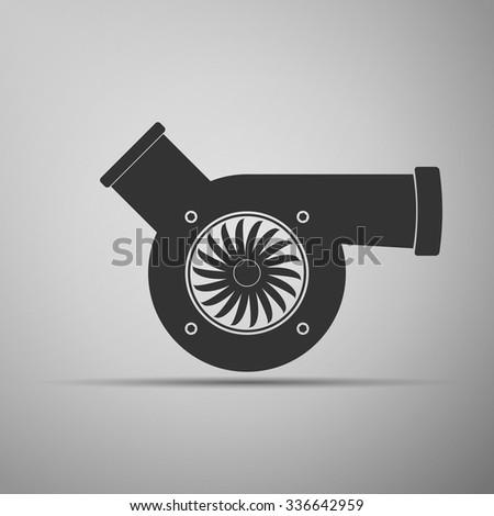 Automotive turbocharger icon on grey background. Vector Illustration - stock vector