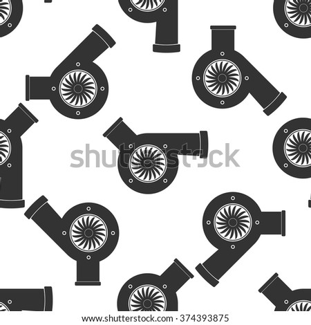 Automotive turbocharger icon seamless pattern on white background. Vector Illustration - stock vector