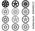 automotive wheel with alloy wheels - stock vector