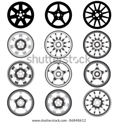automotive wheel with alloy wheels - stock vector